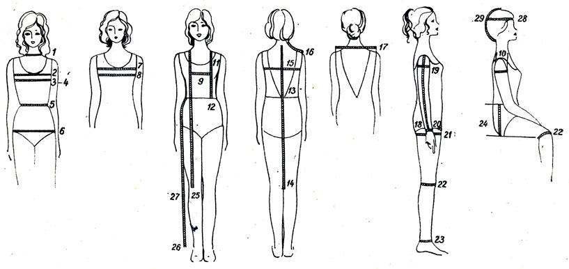 Снятие мерок с женской фигуры