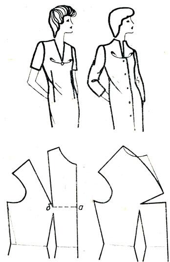 Рис. 163. Перемещение нагрудной вытачки на среднюю линию полы