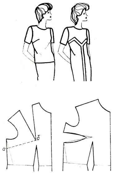 Рис. 166. Перемещение нагрудной вытачки на линию бокового среза. I вариант