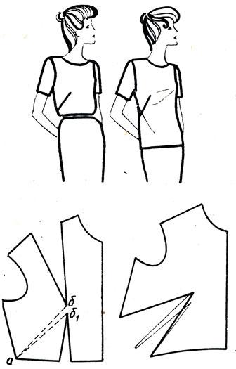 Рис. 168. Перемещение нагрудной вытачки на линию талии и бокового среза