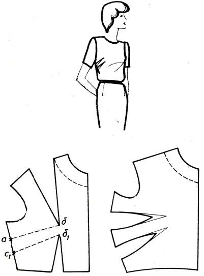 Рис. 169. Перемещение нагрудной вытачки и вытачки на талии в две вытачки на линию бокового среза