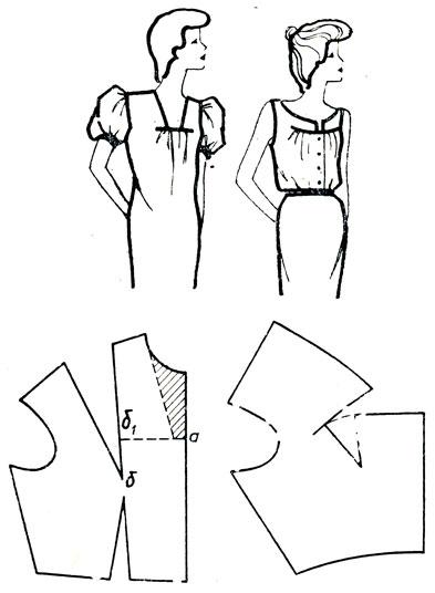 Рис. 175. Перемещение нагрудной вытачки и вытачки на талии в сборки, расположенные книзу от линии подреза