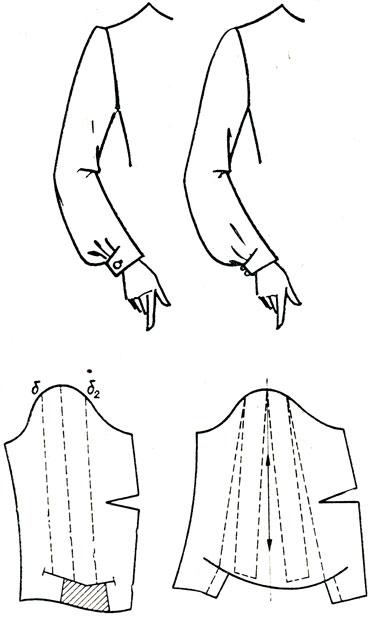Рис. 187. Длинный рукав с подрезом на манжете