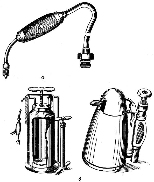 Рис. 66. Пульверизаторы: а - работающий от водопроводной сети; б - со специальными бачками