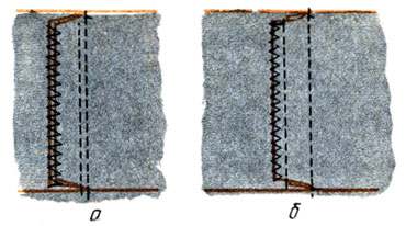 Рис. 97. Настрочные швы с открытыми срезами: а - двумя; б - одним