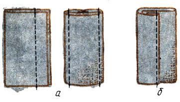 Рис. 98. Обработка паты: а - стачным швом; б - накладным швом