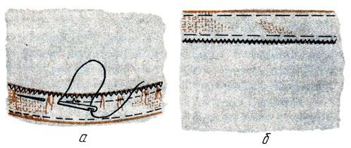 Рис. 106. Шов с открытым срезом: а - заметывание низа расклешенной юбки; б - подшивание низа прямой юбки