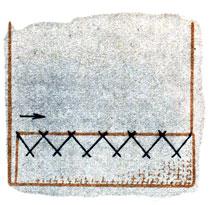 Рис. 107. Подшивание низа изделия крестообразными стежками