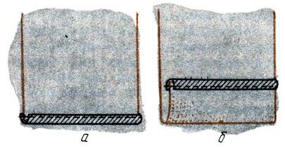 Рис. 109. Обработка низа изделия с заутюженной тесьмой: а - приметывание и настрачивание заутюженной тесьмы; б - заметывание и подшивание низа