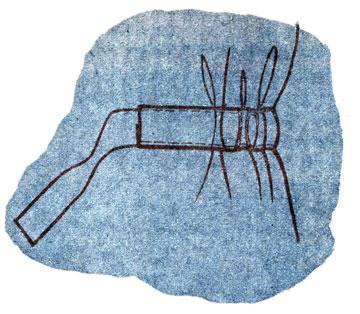 Рис. 114. Обработка кулиски с лицевой стороны изделия