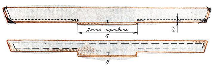 Рис. 121. Обработка воротника-банта: а - обтачивание и срезание излишков ткани; б - выметывание