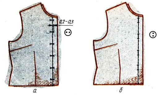 Рис. 126. Разметка петель для изделий с застежкой доверху: а - горизонтальных; б - вертикальных