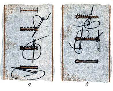 Рис. 128. Обработка обметанных петель: а - прямых; б - с 'глазком'
