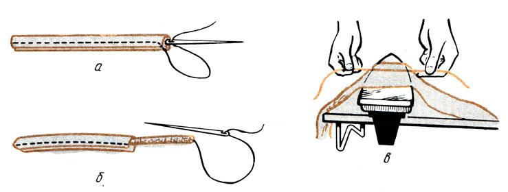 Рис. 130. Изготовление вытачного шнура (рулика): а - вытачивание шнура; б - вывертывание; в - выравнивание при помощи утюга
