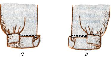 Рис. 134. Соединение манжеты с рукавом со складочками по нижнему срезу: а - притачивание и настрачивание манжеты; б - прикрепление одной стороны манжеты ко шву притачивания потайными стежками