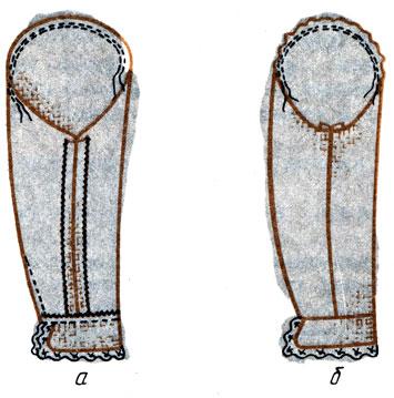Рис. 135. Соединение манжеты конической формы с рукавом: а - изнаночная сторона; б - лицевая сторона