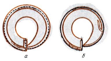 Рис. 140. Одинарное кокилье: а - заметывание внешнего среза; б - обработка внешнего среза зигзагообразной строчкой