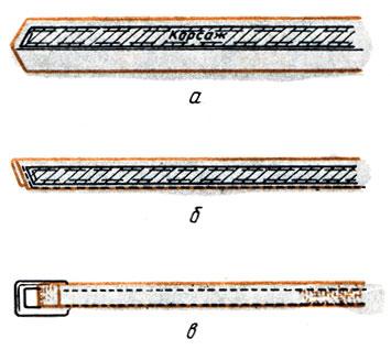 Рис. 151. Обработка пояса с прокладкой: а - настрачивание прокладки; б - обтачивание пояса; в - пришивание пряжки