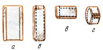 Рис. 152. Обработка шлевки: а - заутюживание боковых срезов; б - настрачивание боковых сторон; в - стачивание шлевки, подшивание срезов; г - изнаночная сторона шлевки