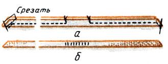 Рис. 153. Обработка обтачного пояса: а - обтачивание, срезание излишков ткани; б - зашивание отверстия вывернутого пояса