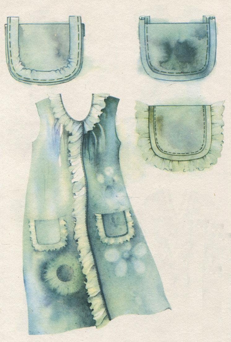 Таблица II. Халат на основе сорочки с круглым вырезом. Технология обработки окантованного накладного кармана с кружевами: притачивание косой полоски; выметывание канта; настрачивание на изделие кармана с кружевом