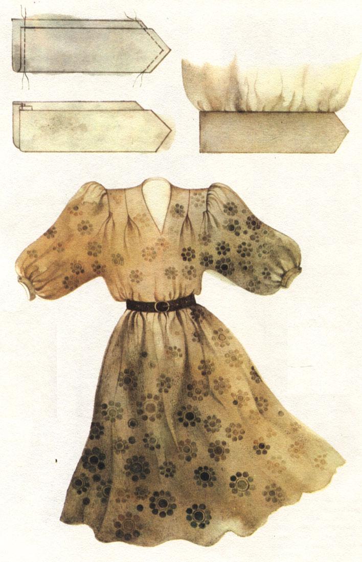 Таблица XII. Модель блузы 'Майя'. Технология обработки манжеты: обтачивание концов; выметывание; соединение с рукавом